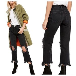 Free People We The Free Maggie Mr. Black Straight Leg Distressed Jeans 25